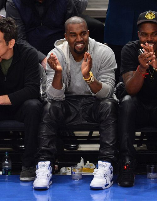 Kanye West wearing the Nike Air Flight 89 White/Blue
