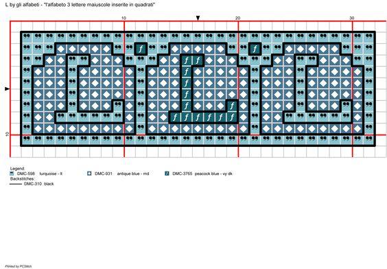 Alfabeto 3 lettere maiuscole inserite in quadrati: L