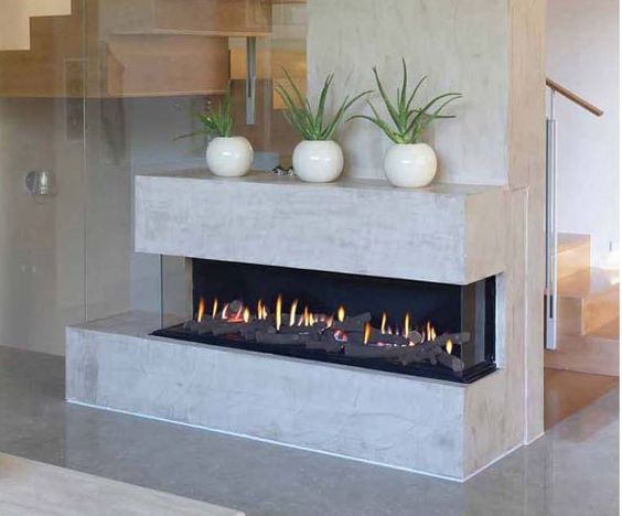 Ortal Three Sided Gas Fireplace With Driftwood Logs