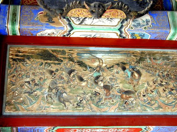 summer palace, Beijing, China   The Battle of Zhuxian County. This painting in the Long Corridor shows a scene from a decisive battle in the war between the Jin and the Song Dynasties. In the Battle of Zhuxian County, the Song army was nearly beaten, but the courage of its generals changed a near defeat into a victory.  Read more: http://digitaljournal.com/image/114860#ixzz2bF8IAKiM