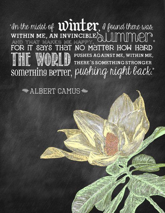 Albert Camus, The Stranger Invincible summer quote  A Life Americana  Pinte...