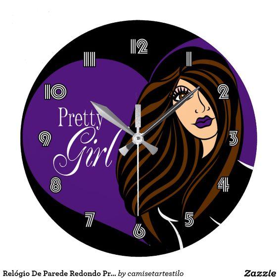 Relógio De Parede Redondo Pretty Girl