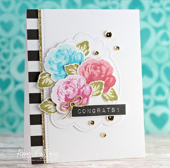 """Altenew Vintage Roses """"Congrats"""" card using Label Love; Pretty Pink Posh Decorative Tag die; Twine & Bows die set (PPP)"""