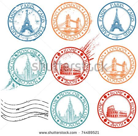City stamps collection with symbols: Paris (Eiffel Tower), London (London Bridge), Rome (Colosseum), Moscow (Lomonosov University) - stock vector