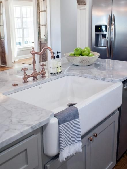 Copper countertops and kitchen sinks on pinterest for Carriage house kitchen cabinets