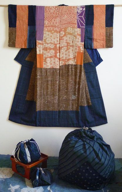In old Japan, hand loomed and hand dyed cloth was constantly re-purposed. Indigo dyed cotton cloth was often hand woven in the home from yarns which were hand spun by the weaver. The time and labor which went into the creation of cloth gave it great value. It was not a disposable commodity.