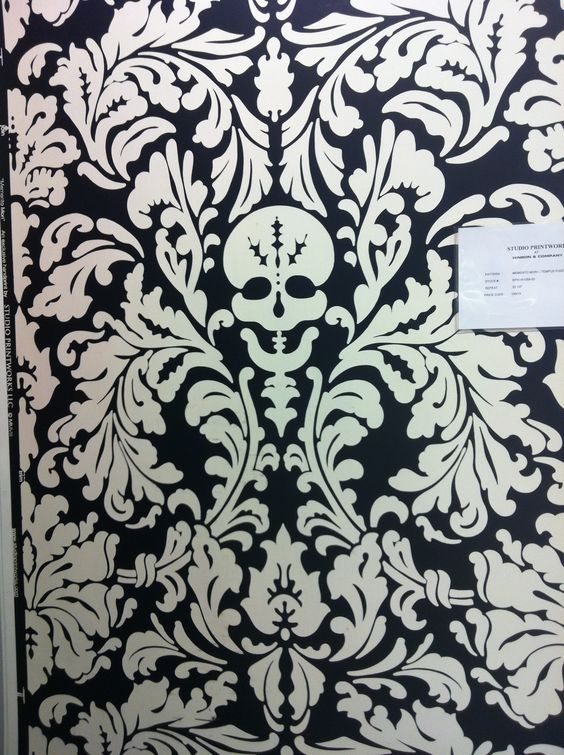 skull damask wall paper. very cool (and halloween-ish)