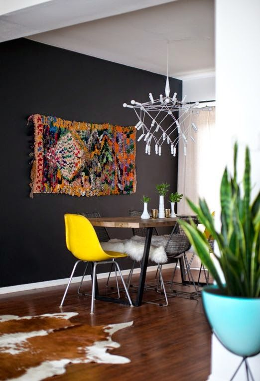 hide rug eclectic dining room