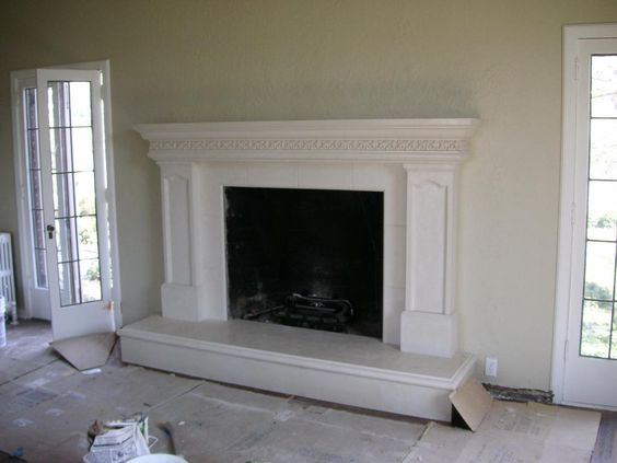 art#12 fireplace mantel with inlay legs Acanthus leaf Artisan.Mantels.Salt. - Mantels, Lakes And Hearth On Pinterest
