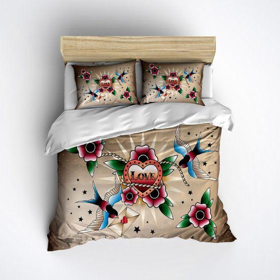 lightweight rockabilly bedding - with beautiful swallow blue bird
