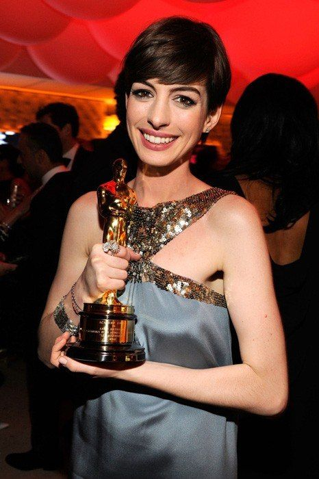 Anne Hathaway in Saint Laurent at the Vanity Fair Oscar Party, February 2013