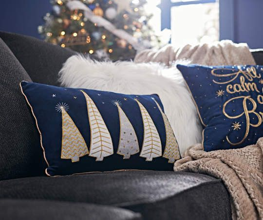 I found a Blue & Gold Christmas Tree Decorative Pillow, (18