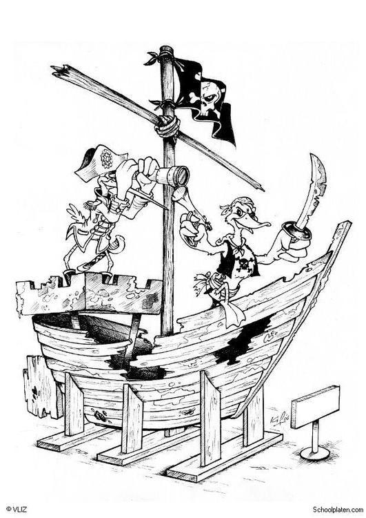 Dibujo Para Colorear Piratas Barco Pirata Ilustracion Imagenes Para Escuelas Y Educacion Piratas Barco Pirata Paginas Para Colorear Piratas Barco Pirata