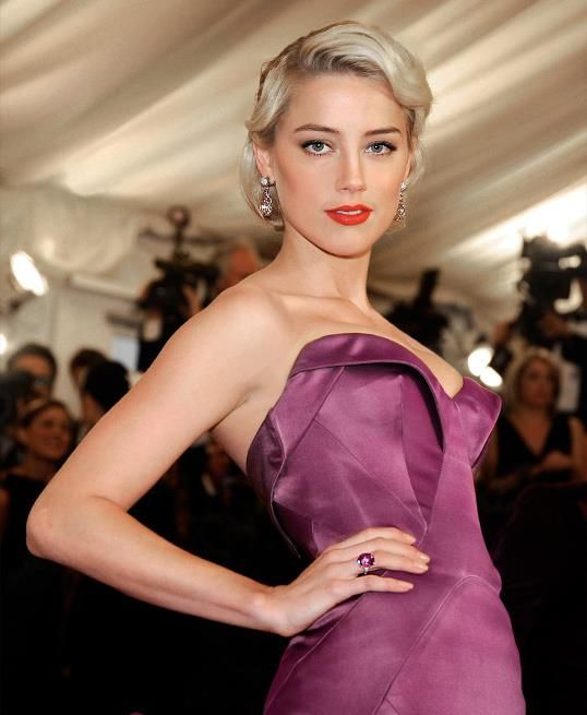 Actress Amber Heard at the met gala 2012 -  love her  hair for wedding