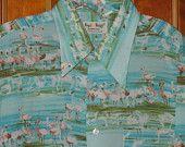 1970s Flamingo Print Poly Shirt
