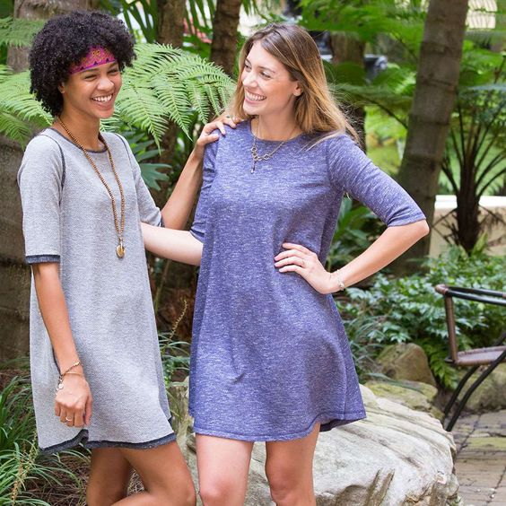 Bailey Dress - Reversible Indigo Terry - Two dresses in one! This reversible, french terry shift dress features half-length sleeves and a hem that hits just above the knee. The Bailey Dress is super comfy and is perfect for dressing up or down! ALL SALE ITEMS ARE FINAL SALE. Please refer to our Return Policy for more information.