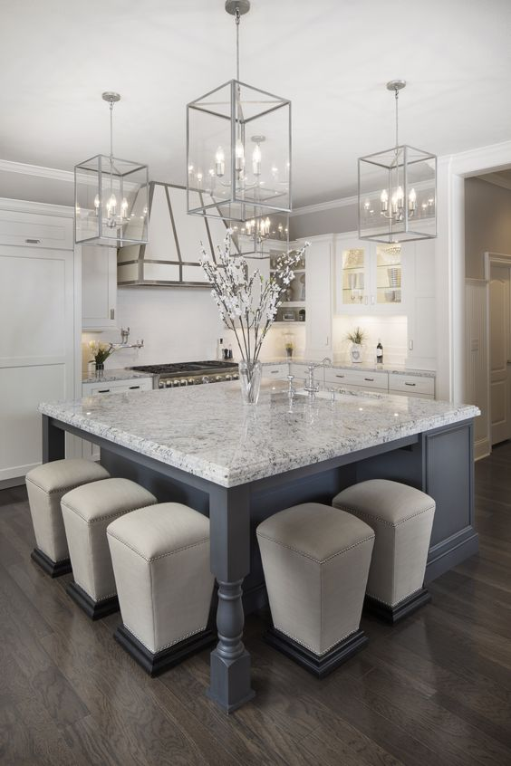 Here we've got a white background with gray veining throughout. It definitely looks great with the white and gray cabinets and has an elegant appearance.
