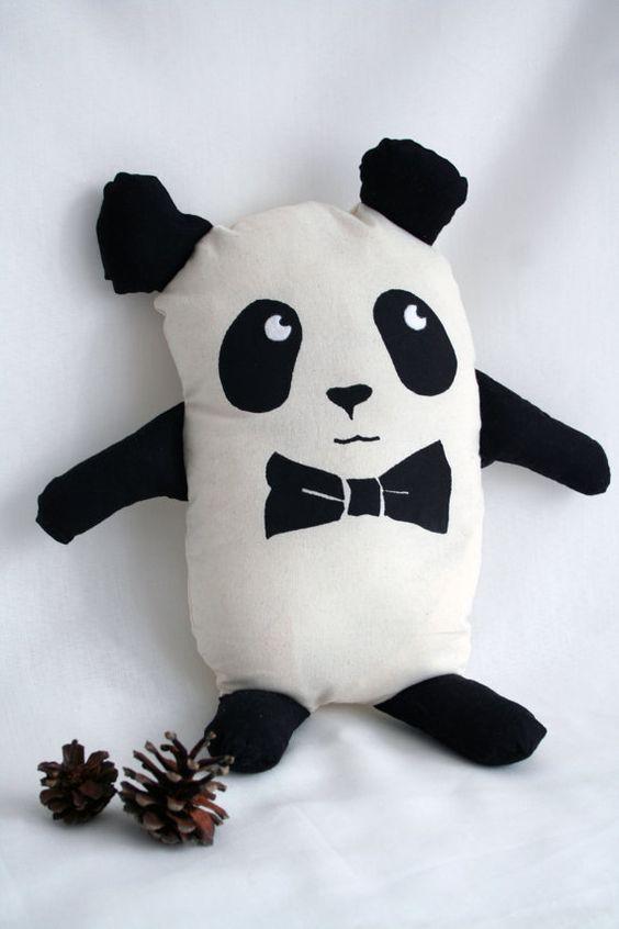 chic panda plush with bow tie softies