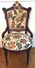 Antique Eastlake Victorian Parlor Side Chair New Upholstery + Purchase Guarantee