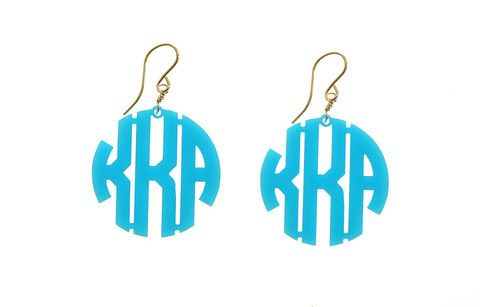 Moon and Lola Acrylic Block Monogram Earrings