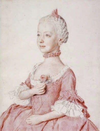 Jean-Etienne Liotard (Swiss-French artist, 1702-1789) Maria Carolina (Charlotte), archiduchesse d'Autriche (1752-1814) 1762: