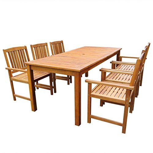 Festnight Salon De Jardin 1 Table Et 6 Chaises D Exterieur En Bois Acacia Massif Marron Table Et Chaises De Jardin Chaise De Jardin Salon De Jardin