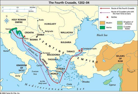Ruta de los Cruzados durante la Cuarta Cruzada (1201-1204).