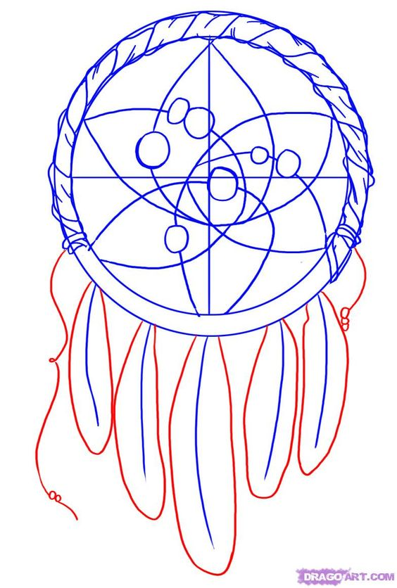 Dream catcher patterns how to draw a dreamcatcher step 4 for How to make a dreamcatcher step by step