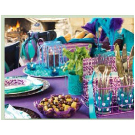 teal turquoise and purple party decorations wedding