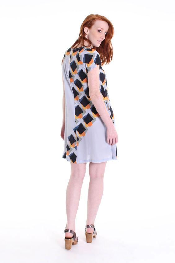 Pleated underlay mini dress in blue