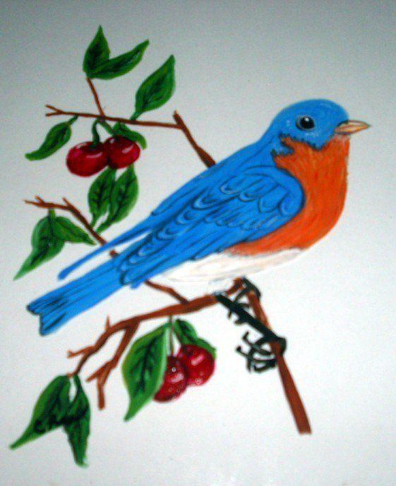 Bluebird Among the Cherries : acrylic on glass