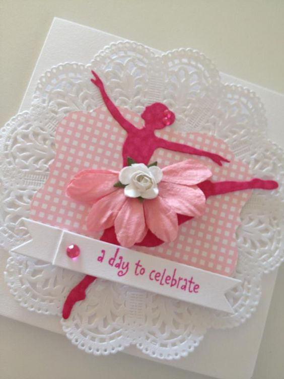 Handmade greeting card of ballerina silhouette, pretty in pink by OSONiA Designs