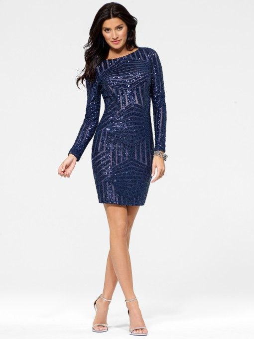 Sapphire-Blue Sequin Sheath Dress  Holiday Cocktail Dresses ...