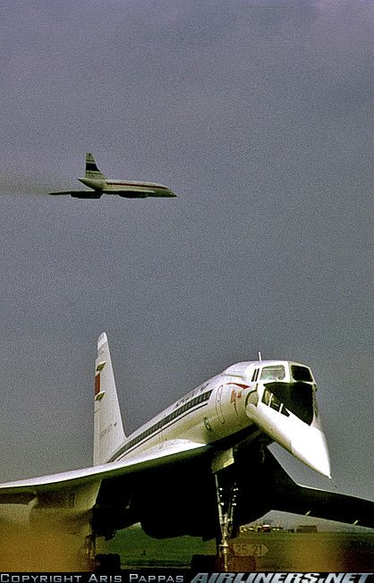 Tu 144 CCCP 7102 the day before the crash at PAris Le Bourget Air Show in June of 1973, flyover of Concorde F-WTSA