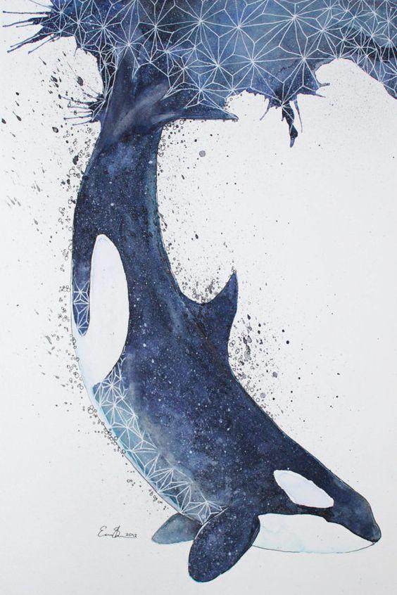 Original Watercolour Painting  Orca by ErikSterlingSherman on Etsy, €102.00 ohjesusmum!!!!