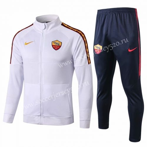 2019 2020 Roma White High Collar Thailand Soccer Jacket Uniform 815 Soccer Uniforms Jackets Football Jackets