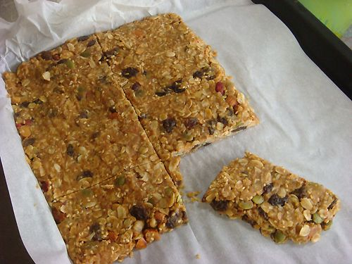 Easy Homemade granola bars. - These are absolutely delicious! They rarely make it through 1 day at our house. - Oats,Trail mix(nuts, raisins, or what ever you would like in the bars), peanut butter, honey & coconut oil. <3
