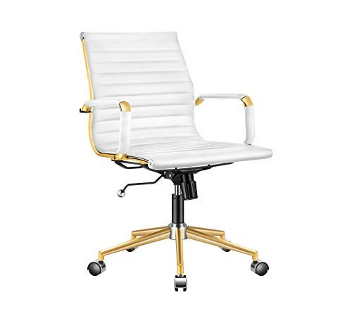 Luxmod Gold Office Chair In White Leather Mid Back Office Chair With Armrest White And Gold Ergonomic Des In 2020 Gold Office Chair Ergonomic Desk Chair Office Chair