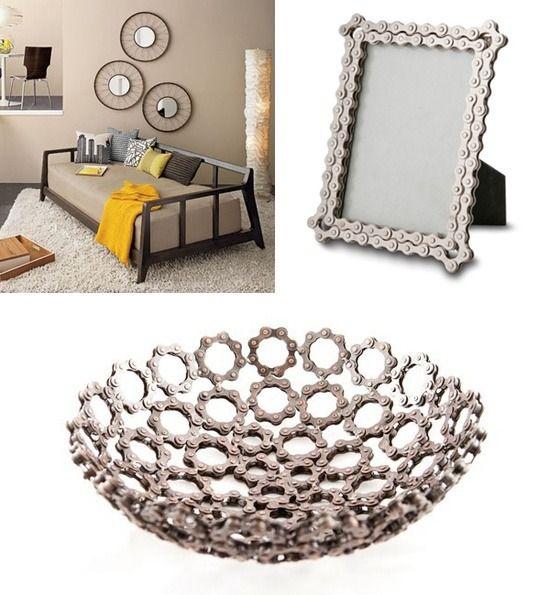 bastelideen mit fahrradteilen rahmen spiegel schale. Black Bedroom Furniture Sets. Home Design Ideas