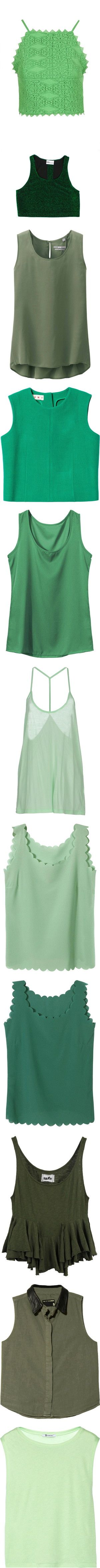 Green / Mint Clothes, objects & fillers by chelseapetrillo on Polyvore featuring GREEN, mint, mintgreen, women's fashion, tops, crop tops, bright green, crochet top, green jersey and high neck top