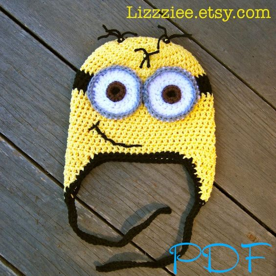 Despicable Me Minion Hat Pattern - Crochet hat PDF - Complete instructions for earflaps beanie ties braids. $3.99, via Etsy.