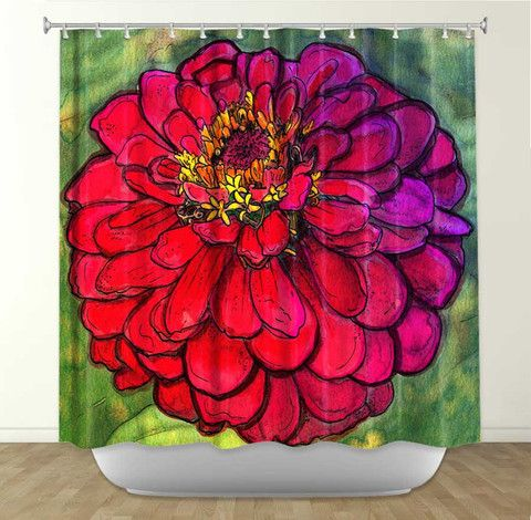 DiaNoche Designs Parisian Zinnia by Diana Evans Fabric Shower Curtain