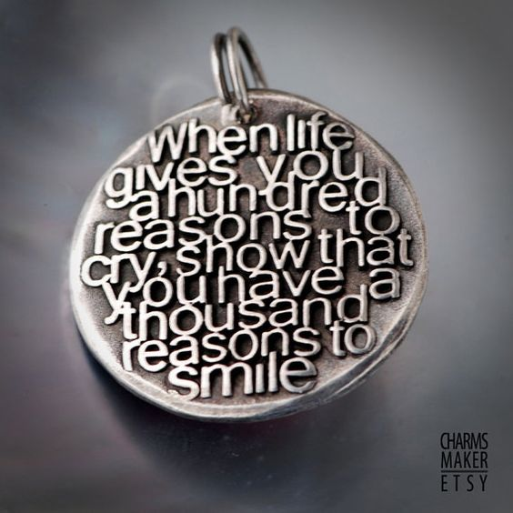 Reasons to smile ... Gold Inspirational Words in Solid Silver Pendant, Necklace, CustomQuotesMaker