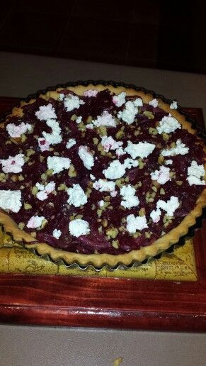 Beetroot and goats cheese tart with balsamic onions