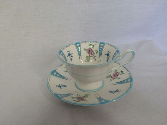Shelley England Antique Teacup and Saucer Numbered Handpainted Blue & Flowers #Shelley