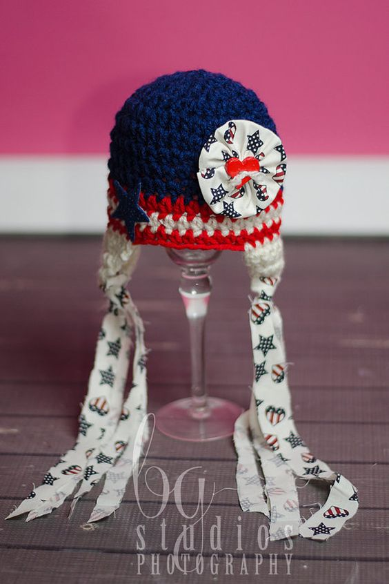 4th of July NEWBORN and Baby GIRL Crochet Hat  by BGStudios, $35.00