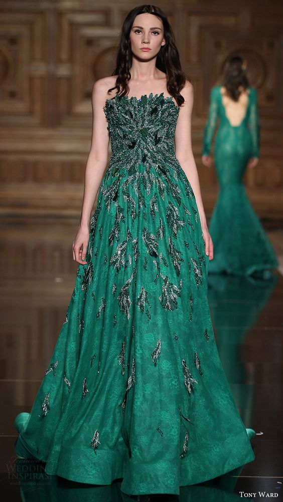 tony ward couture fall 2016 strapless embellished a line evening dress (23) mv green color: