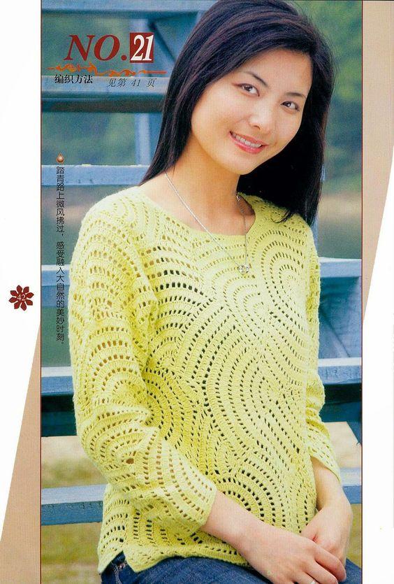Crochet Japonês (Blusas) #crochet