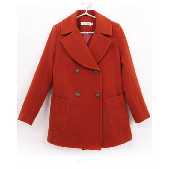 Red long sleeve high quality woolen coat