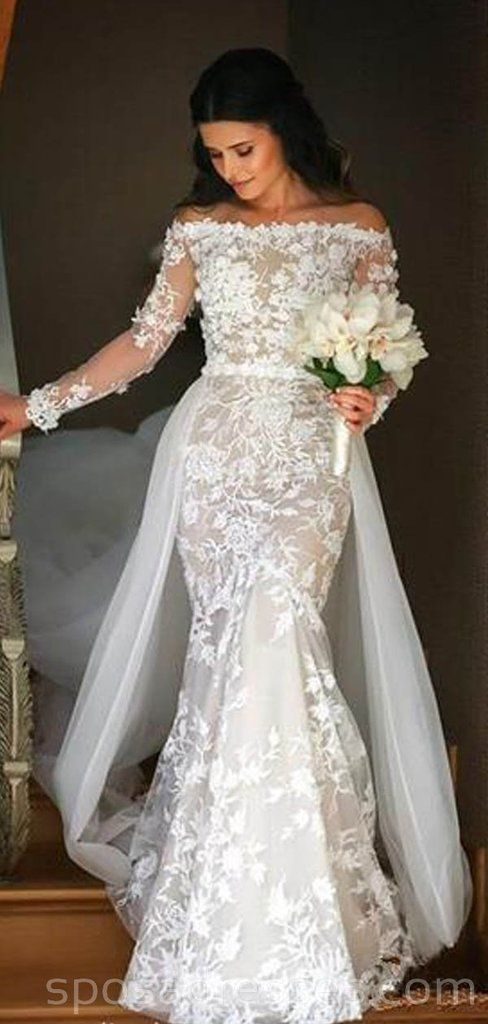 Long Sleeves Lace Mermaid Cheap Wedding Dresses Online Cheap Bridal Dresses Wd541 In 2020 Detachable Train Wedding Dress Online Wedding Dress Cheap Bridal Dresses